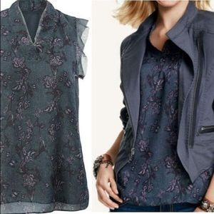CAbi Evermore Tank Top Blouse Floral Butterfly